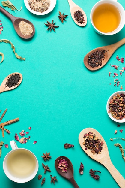 Tea cup with herbal and spices on turquoise background with copy space for writing the text Free Photo