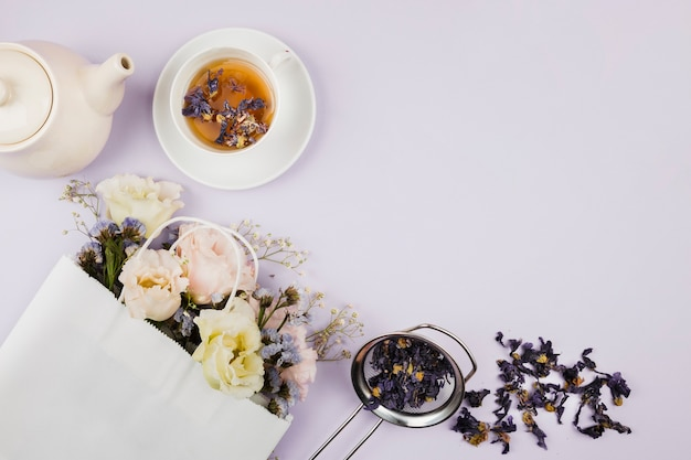 Tea herbs and flowers in flat lay Free Photo