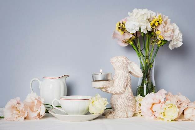 Tea next to lovely decorations Free Photo