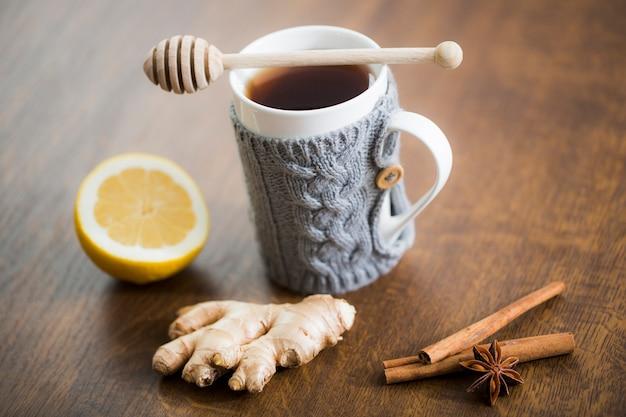 Tea mug with lemon and ginger Free Photo