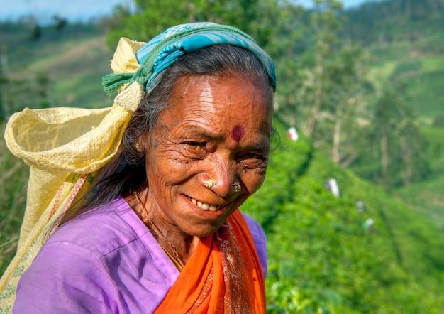 Tea picker at a plantation in sri lanka Free Photo