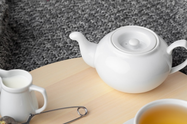 Tea time. cup of tea on a beautifully decorated table Premium Photo