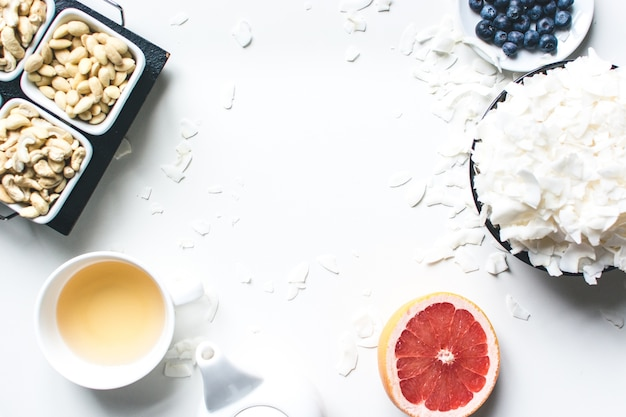 Tea time with healthy paleo snack Free Photo