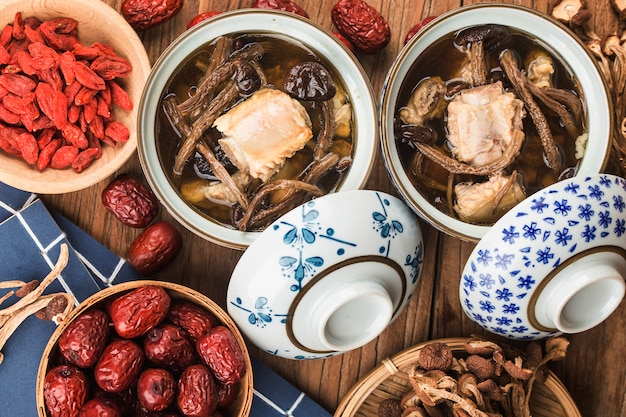 Tea tree mushroom ribs stew Premium Photo