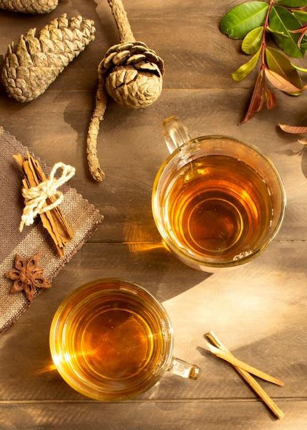 Чайный зимний напиток плоская планировка Бесплатные Фотографии
