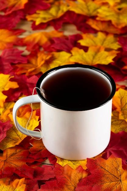 紅葉のお茶 無料写真