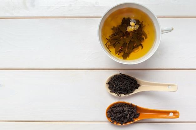 Tea on the wooden table Premium Photo