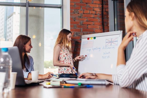성인 학생들이 그녀를 듣고 책상에 앉아있는 동안 화이트 보드에 설명하는 교사 프리미엄 사진
