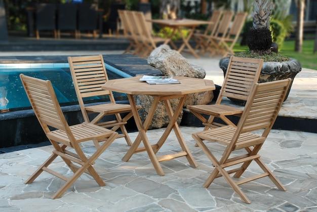 Awe Inspiring Teak Garden Furniture Set With Folding Chairs And Hexagonal Pdpeps Interior Chair Design Pdpepsorg