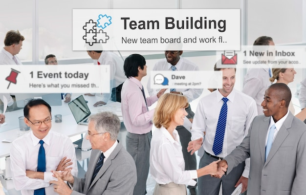 Team building collaboration connection corporate teamwork concept Free Photo