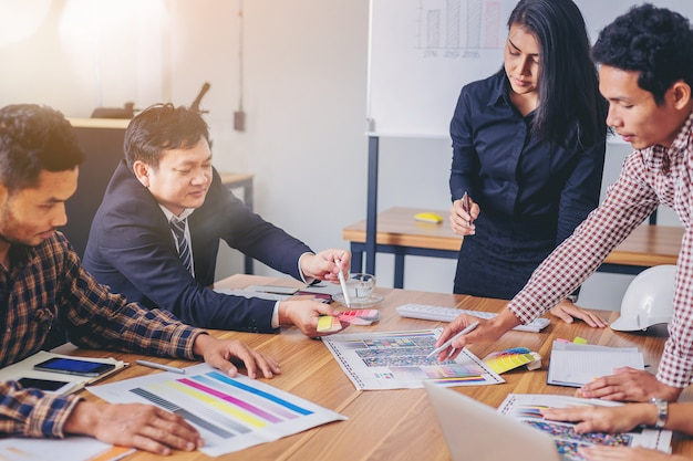 Team designer working graphic with color chart and meeting brainstorm for new project. Premium Photo