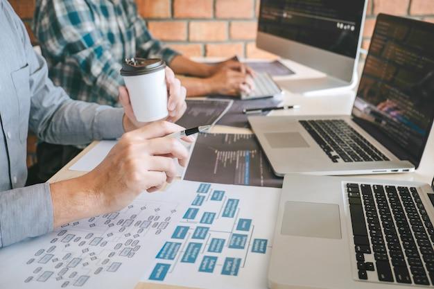 Команда профессионального разработчика-программиста, встреча с коллегами, мозговой штурм и программирование на веб-сайте, работающие с программным обеспечением и технологиями кодирования Premium Фотографии