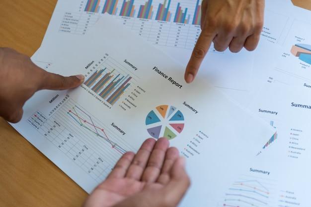 Teamwork business people on meeting focus on target. Premium Photo