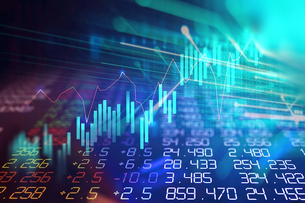 Technical financial graph on technology abstract background Premium Photo