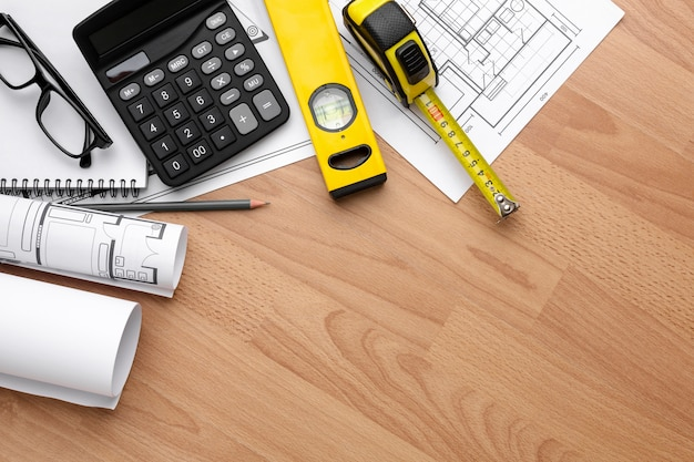 Technical plan drawing with copy space Free Photo