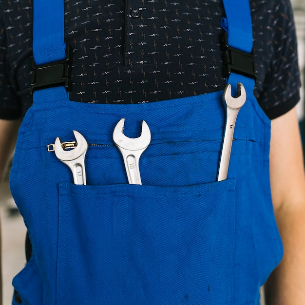 Technician in uniform with wrenches Free Photo