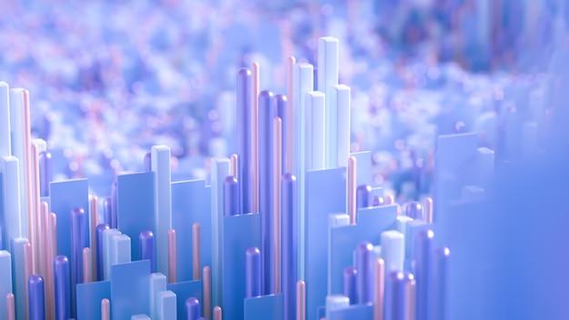 テクノハイテクの背景、幾何学、キューブ、抽象化。 3dイラスト、3dレンダリング。 Premium写真
