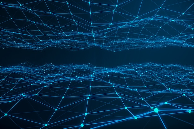 Technological connection futuristic shape, blue dot network, abstract background, blue background, concept of network, internet communication 3d rendering Premium Photo