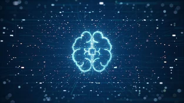 기술 인공 지능 (ai) 두뇌 애니메이션 디지털 데이터 개념. 빅 데이터 흐름 분석. 딥 러닝 현대 기술. 미래형 사이버 기술 혁신. 빠른 디지털 네트워크. 프리미엄 사진
