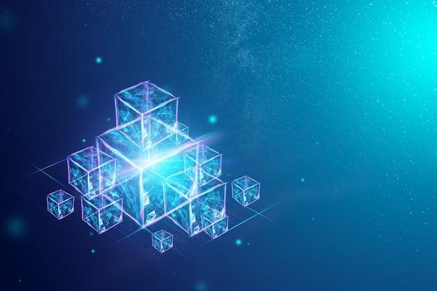 Technology blockchain, ultraviolet background. Premium Photo