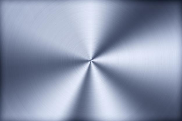 Технология синий фон с полированным, матовым металлом, радиальной текстурой из сплава, титана, стали, хрома, никеля. Premium Фотографии