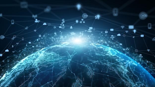 기술 네트워크 데이터 연결 네트워크 마케팅 및 사이버 보안 개념. 프리미엄 사진