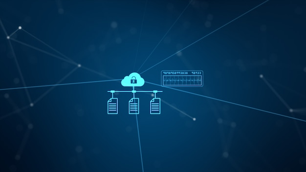 Technology network and data connection. secure data network and personal information. Premium Photo