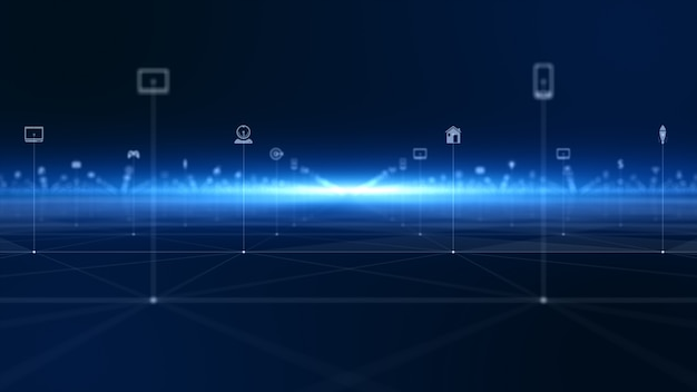テクノロジーネットワークデジタルデータ接続とデジタルデータネットワーク保護。将来の技術ネットワークのコンセプト。 Premium写真
