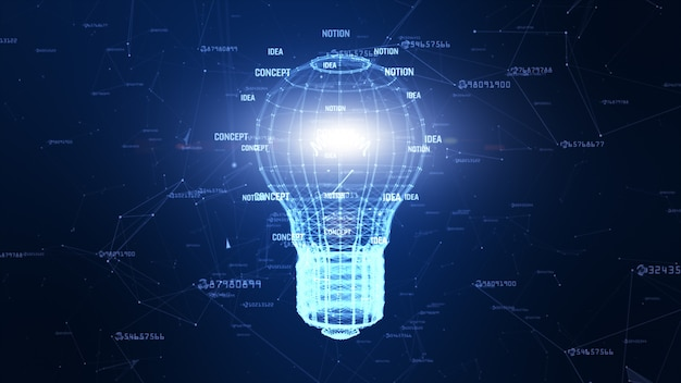 Technology network with lamp digital blue background creative idea for network in world digital concept Premium Photo
