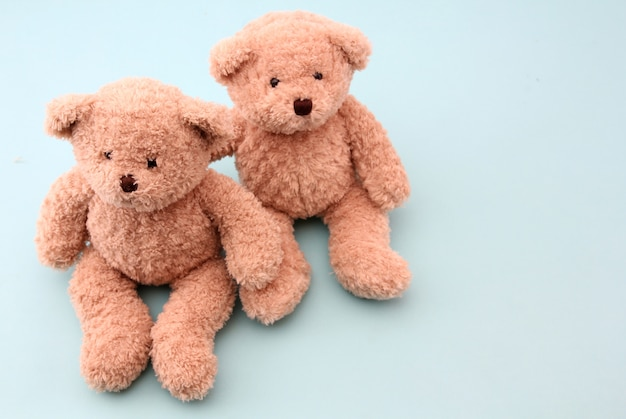 Teddy bear on blue Premium Photo