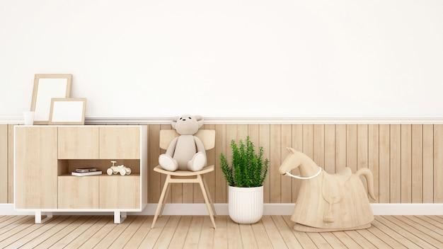 Teddy bear on chair in kid room or coffee shop - 3d rendering Premium Photo