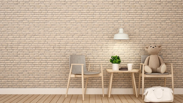 Teddy bear on chair  kid room or coffee shop , brick wall deco Premium Photo