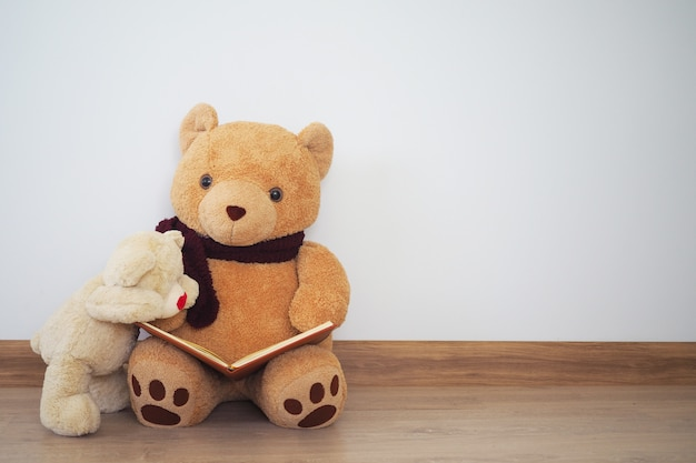 A teddy bear is reading a book for another teddy bear. Premium Photo