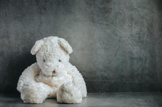 Teddy bear sad in an empty room Free Photo