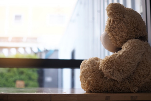 Teddy bear sitting looking at the house window alone. Premium Photo