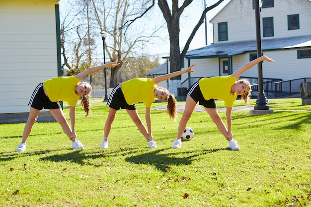Teen girls exercise workout at park Photo | Premium Download