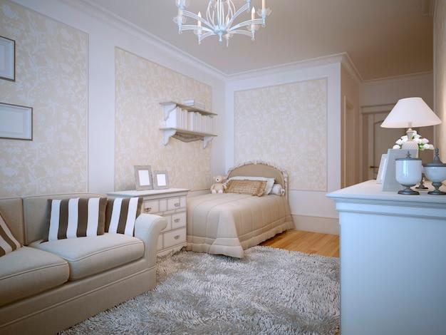 Teenagers bedroom provence design Premium Photo