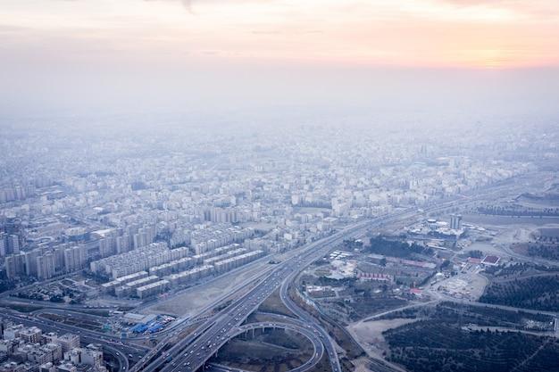 Tehran in iran aerial view Premium Photo