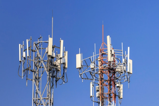 Telecommunication tower with blue sky Premium Photo