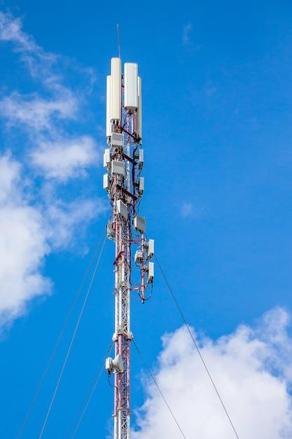 Telecommunications equipment - directional mobile phone antenna dishes. wireless communication. modern technology of information transmission Premium Photo