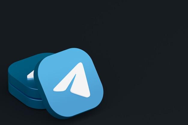 3d-рендеринг логотипа приложения telegram на черном фоне Premium Фотографии