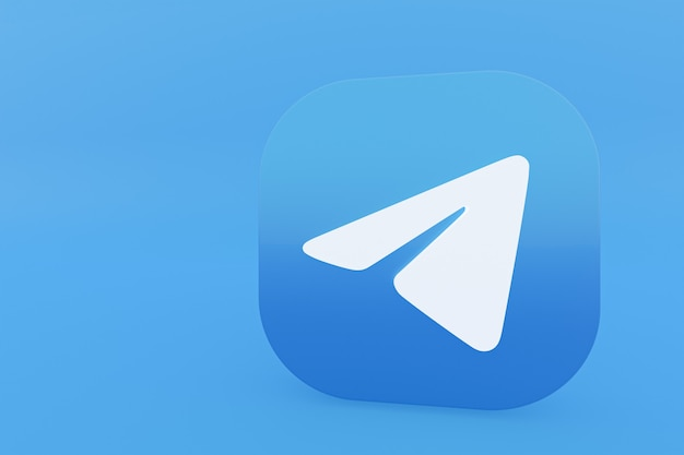 Логотип приложения telegram 3d-рендеринг на синем фоне Premium Фотографии