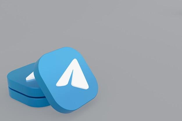 Логотип приложения telegram 3d-рендеринг на сером фоне Premium Фотографии