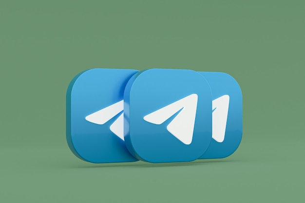 Логотип приложения telegram 3d-рендеринг на зеленом фоне Premium Фотографии
