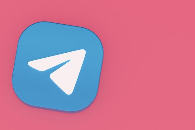Логотип приложения telegram 3d-рендеринг на розовом фоне Premium Фотографии