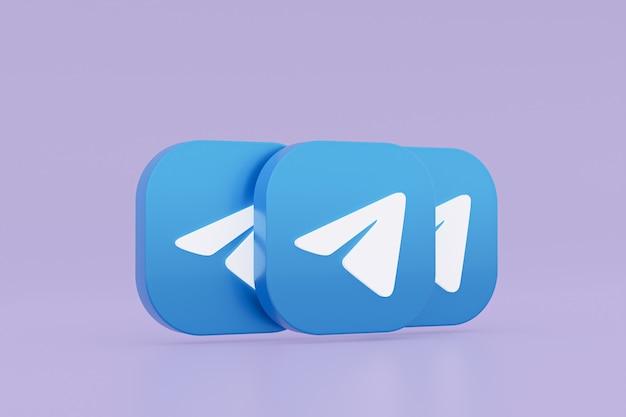 3d-рендеринг логотипа приложения telegram на фиолетовом фоне Premium Фотографии