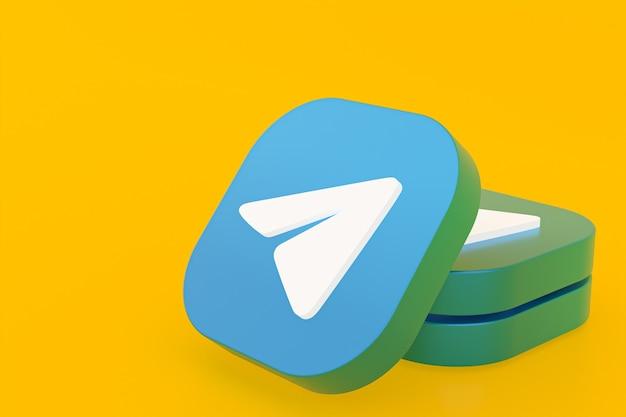 Логотип приложения telegram 3d-рендеринг на желтом фоне Premium Фотографии
