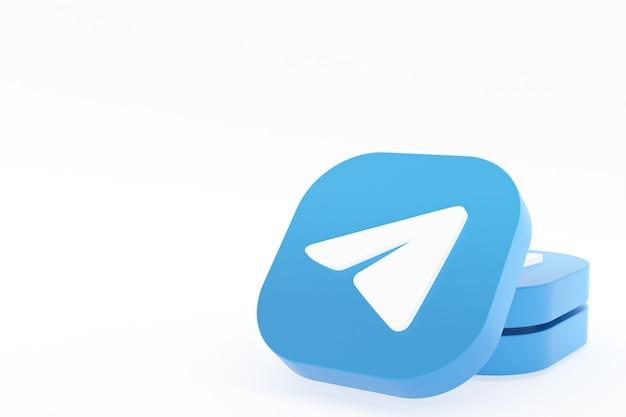 Telegram application logo 3d rendering on white background
