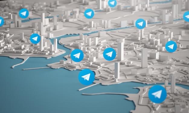Иконка телеграммы с высоты птичьего полета городских зданий 3d-рендеринга Premium Фотографии