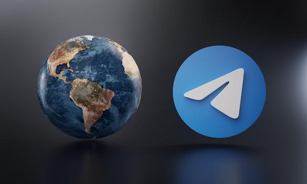 Логотип telegram около рендеринга земли 3d. Premium Фотографии
